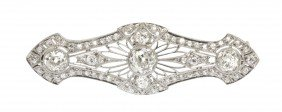 An Edwardian Platinum And Diamond Brooch, 5.60 Dwts