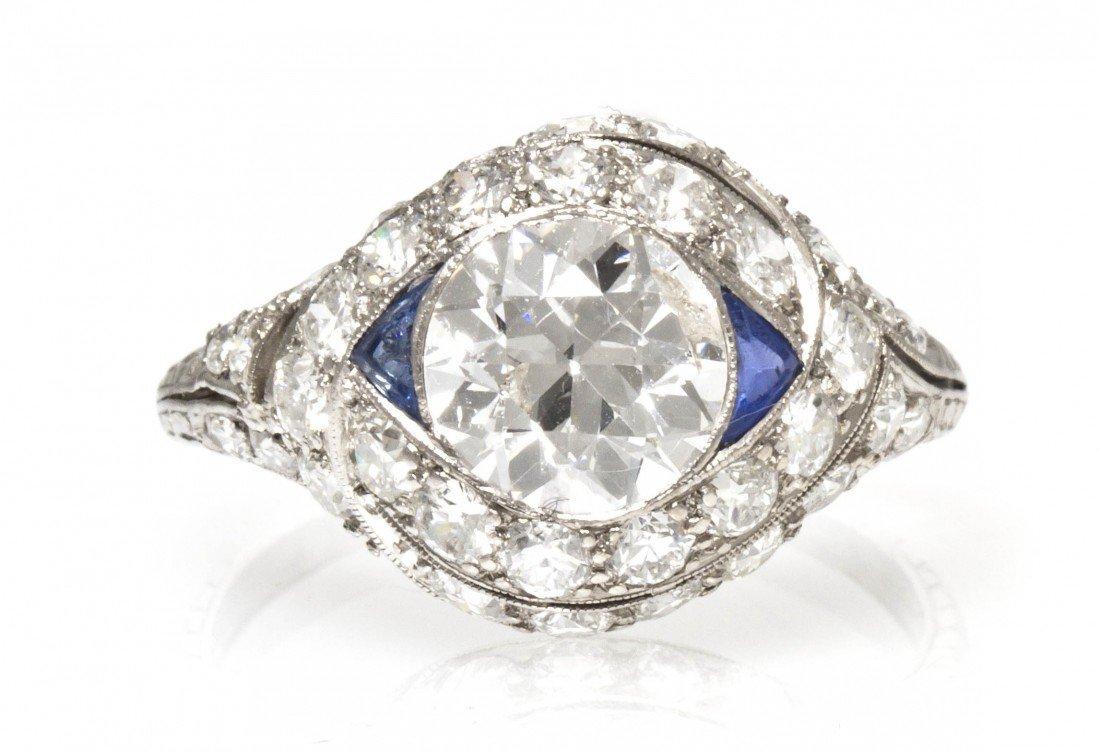 49: An Art Deco Platinum, Diamond and Synthetic Sapphir