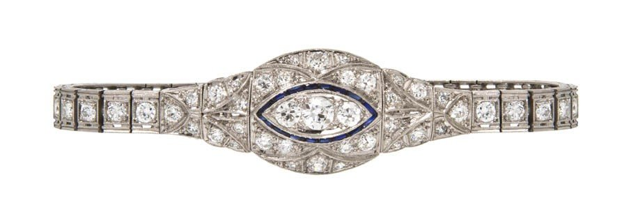 50: An Art Deco Platinum, Diamond and Synthetic Sapphir