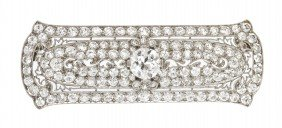 An Art Deco Platinum And Diamond Bar Brooch, 6.00 D