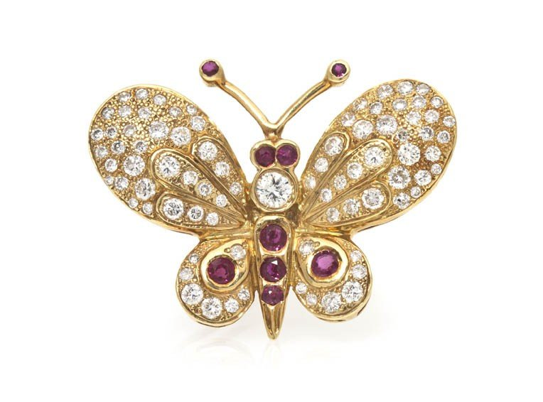 56: A 14 Karat Yellow Gold, Ruby and Diamond Butterfly