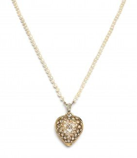 A Victorian Gold, Diamond And Enamel Heart Shape Lo