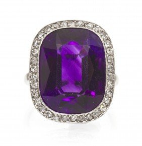 An Edwardian Platinum, Amethyst, And Diamond Ring,