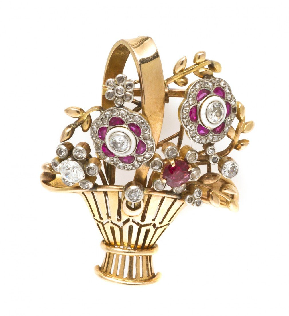 62: An Edwardian Platinum Topped Yellow Gold, Ruby, and