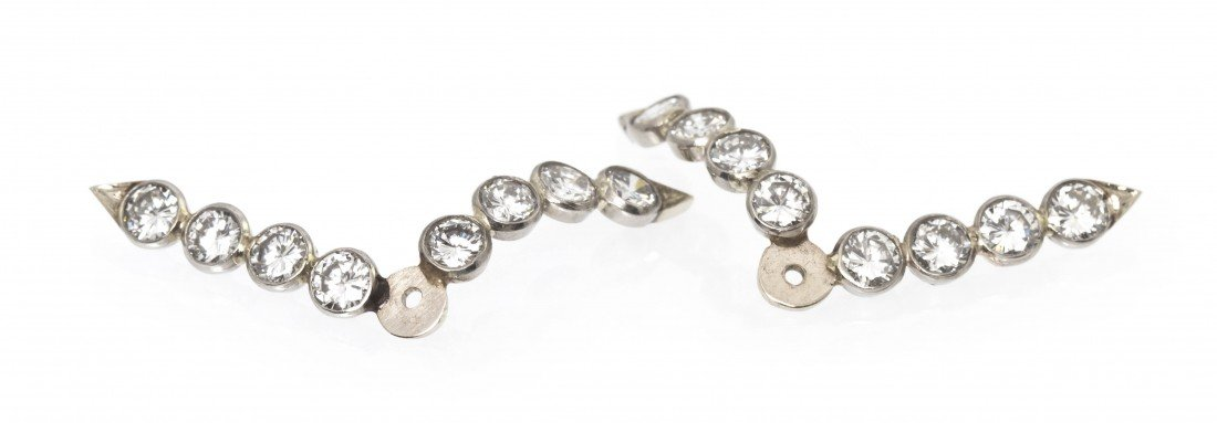 286: A Pair of White Gold Diamond Earring Enhancers, 1.