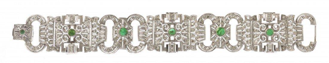 287: A Platinum, Diamond and Emerald Bracelet, 29.30 dw