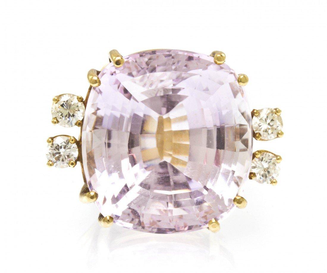 296: A 14 Karat Yellow Gold, Kunzite and Diamond Ring,