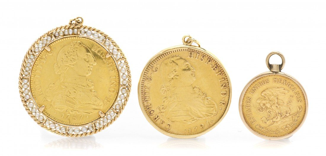 297: A Group of Yellow Gold Coin Pendants, 54.70 dwts.