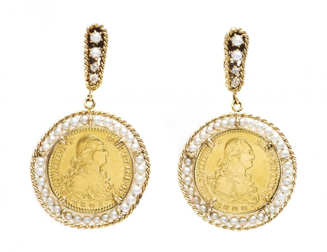 298: A Pair of 14 Karat Yellow Gold, Cultured Pearl and