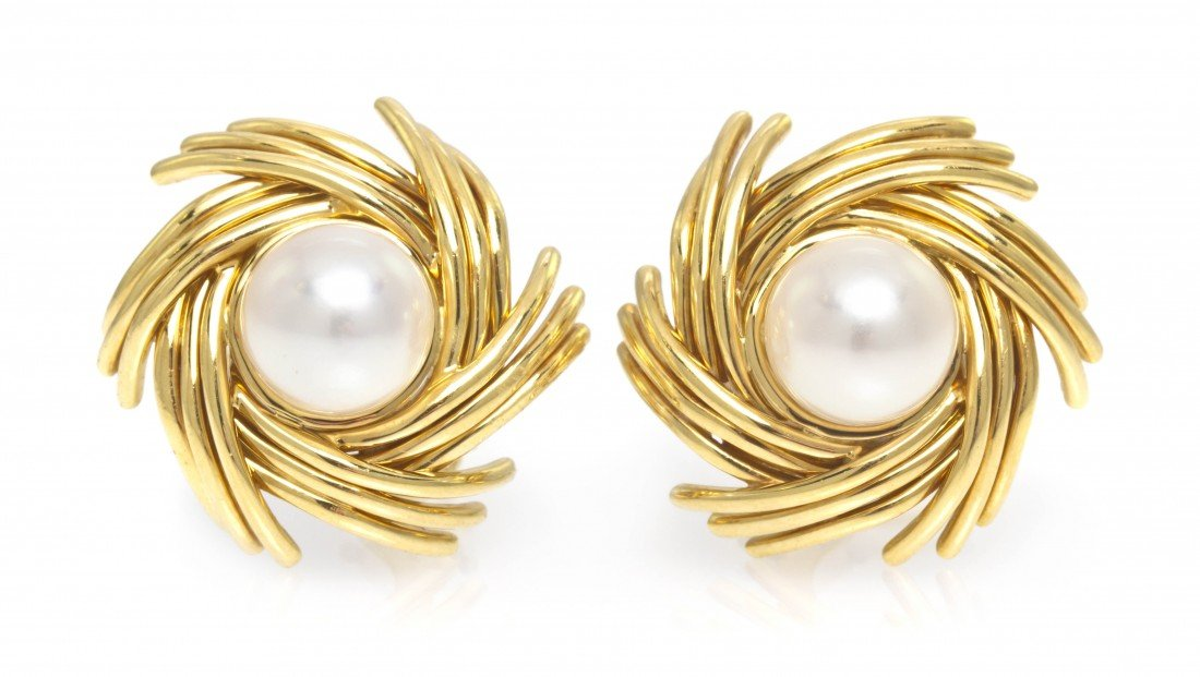 299: A Pair of 18 Karat Yellow Gold and Cultured Pearl