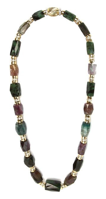 381: A 14 Karat Yellow Gold, Diamond and Multi Color To