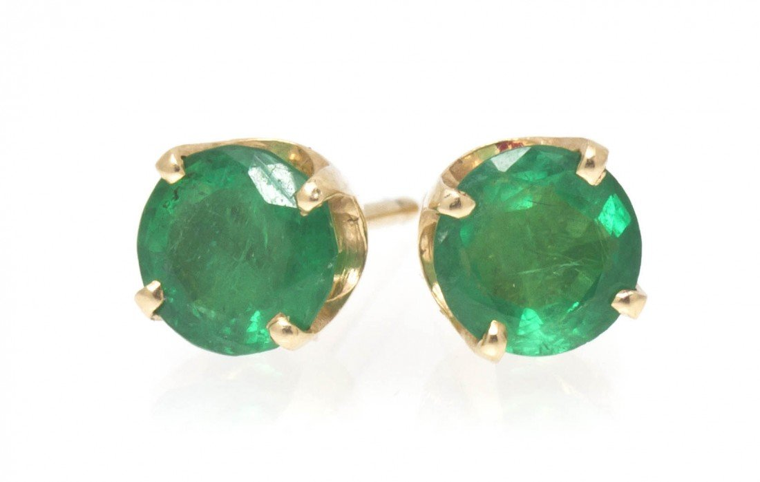 387: A Pair of 14 Karat Yellow Gold and Emerald Stud Ea
