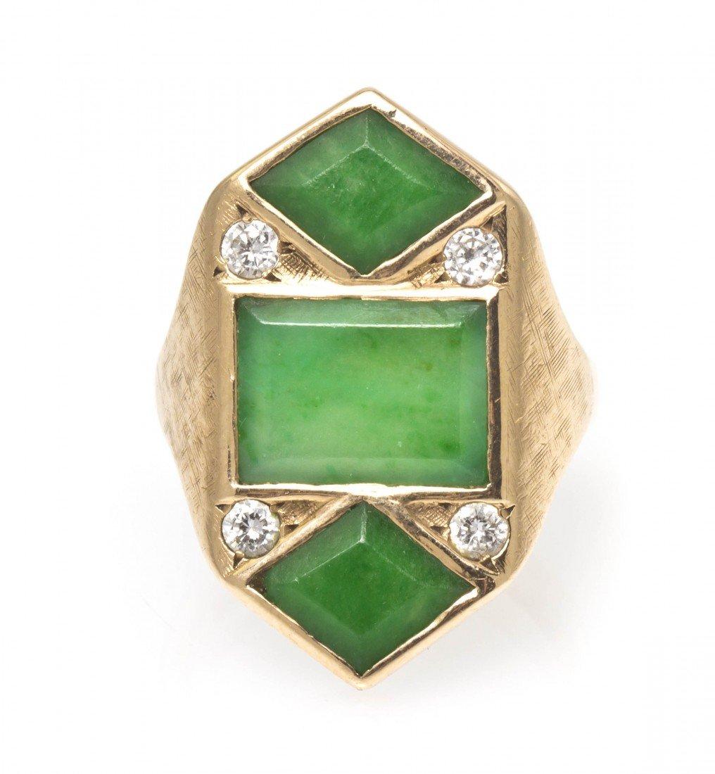391: A 14 Karat Yellow Gold, Jade and Diamond Ring, 6.8