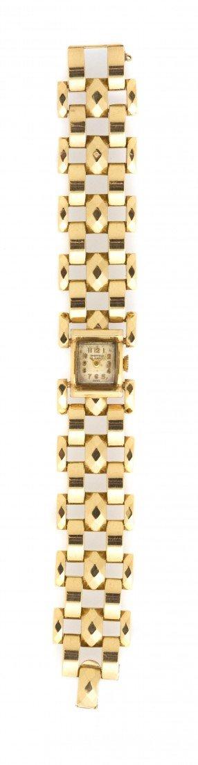394: A 14 Karat Yellow Gold Mechanical Wristwatch, Shef