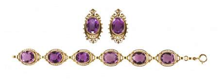 478: A Vintage 14 Karat Yellow Gold, Amethyst and Seed