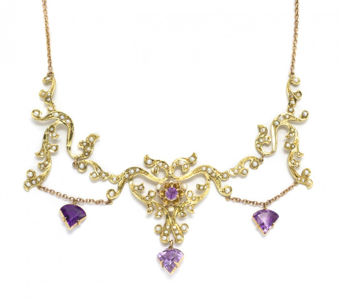 479: A 14 Karat Yellow Gold, Amethyst and Seed Pearl Ne