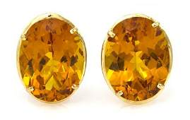 496 A Pair of 14 Karat Yellow Gold and Citrine Earclip