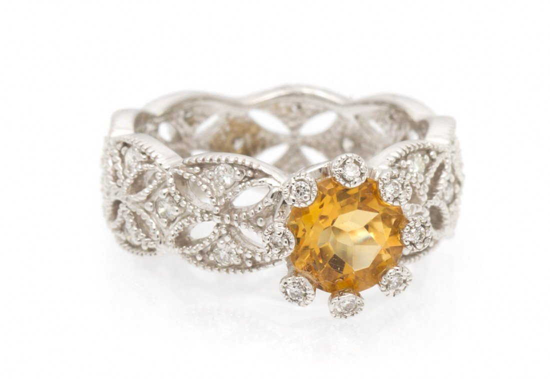 497: A 14 Karat White Gold, Citrine and Diamond Ring, 3