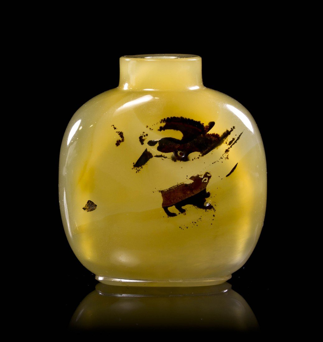 4: A Shadow Agate Snuff Bottle, Height of bottle 2 1/2