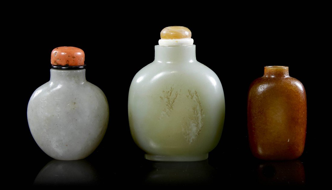 8: A Group of Three Jade and Hardstone Snuff Bottles, H