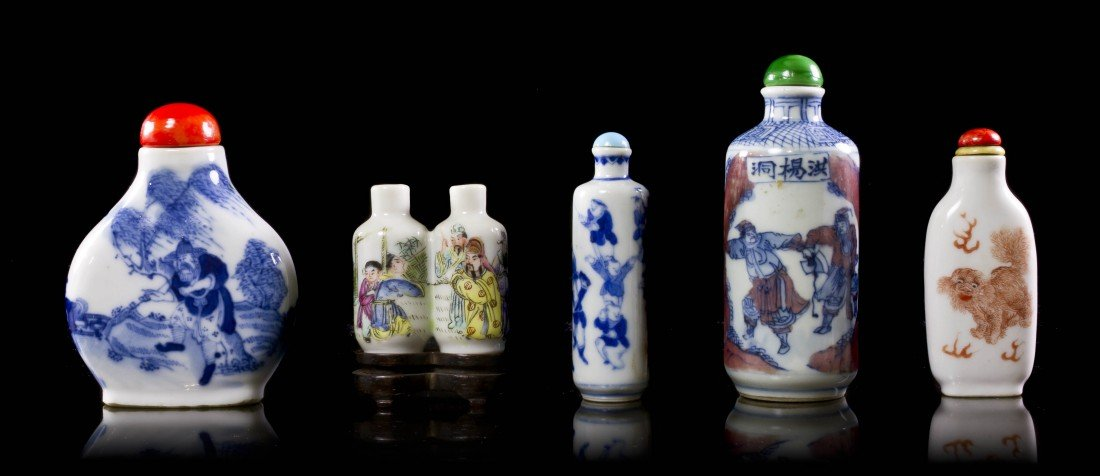 9: A Collection of Five Porcelain Snuff Bottles, Height