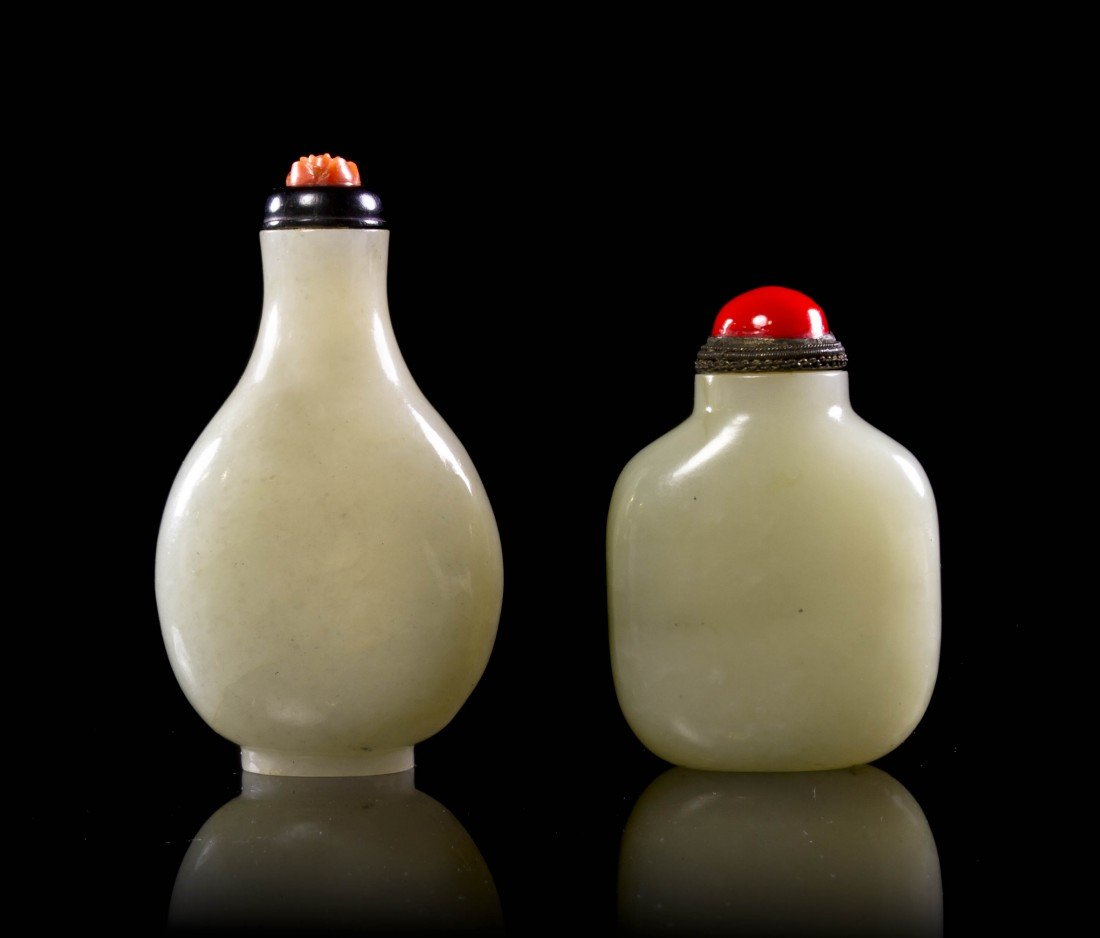 19A: Two Jade Snuff Bottles, Height of tallest 2 3/4 in