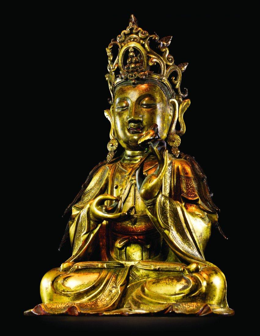 60: A Gilt Bronze Model of Avalokitesvara, Height 13 1/