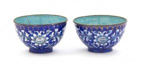 A Pair Of Canton Enamel Marriage Bowls, Diameter 2