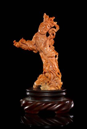 A Carved Coral Model Of A Woman, Height 7 1/4 Inch
