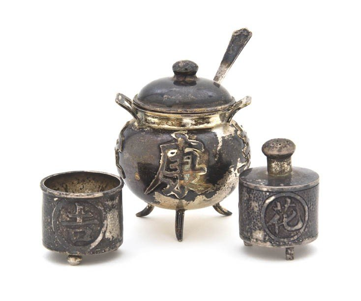 116: A Chinese Silver Lidded Master Salt, C. J. & Co.,