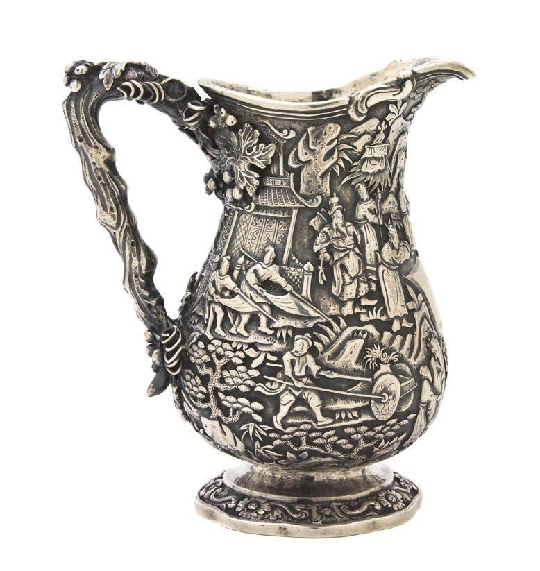 120: A Chinese Export Silver Pouring Vessel, Leeching,