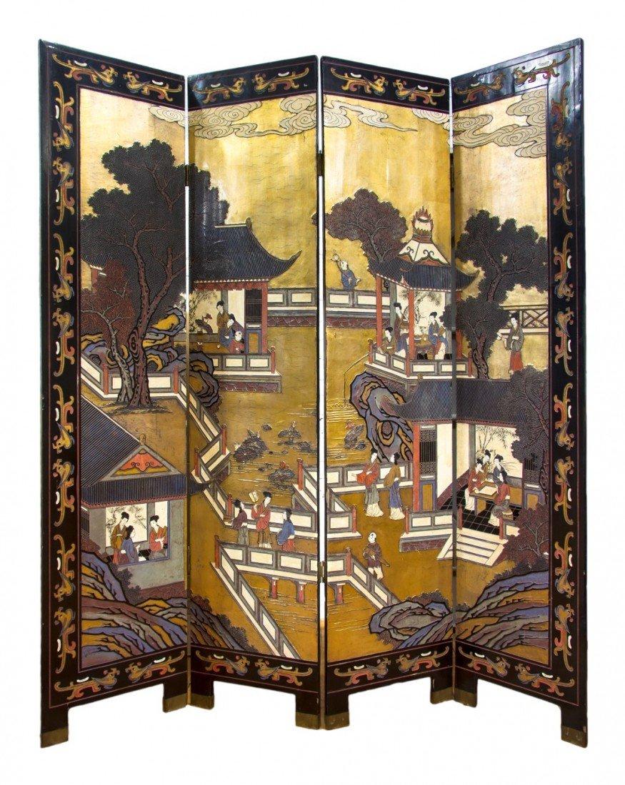 123: A Chinese Four Panel Coromandel Floor Screen, Heig