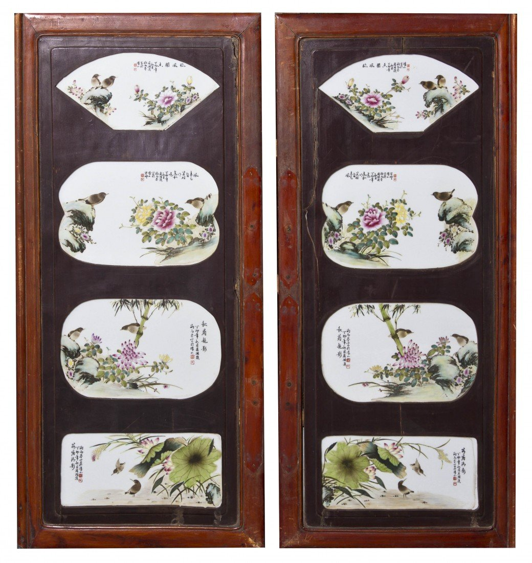125: A Pair of Hardwood Screens, Height overall 42 x wi