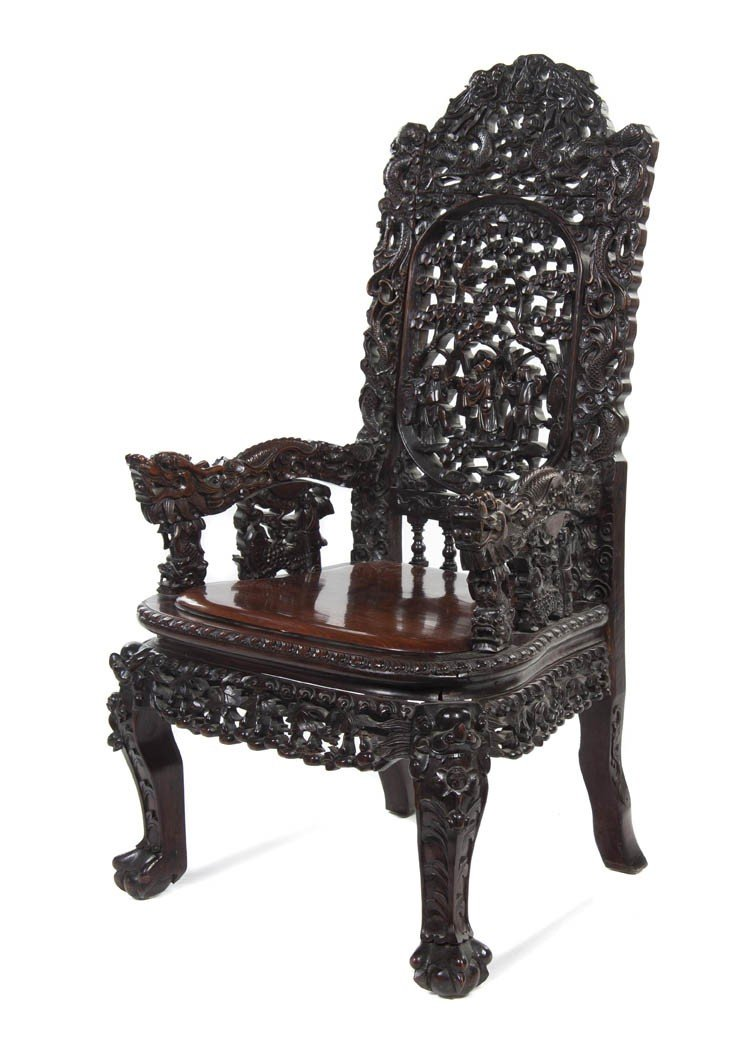 129: A Chinese Carved Hardwood Armchair, Height 45 1/2