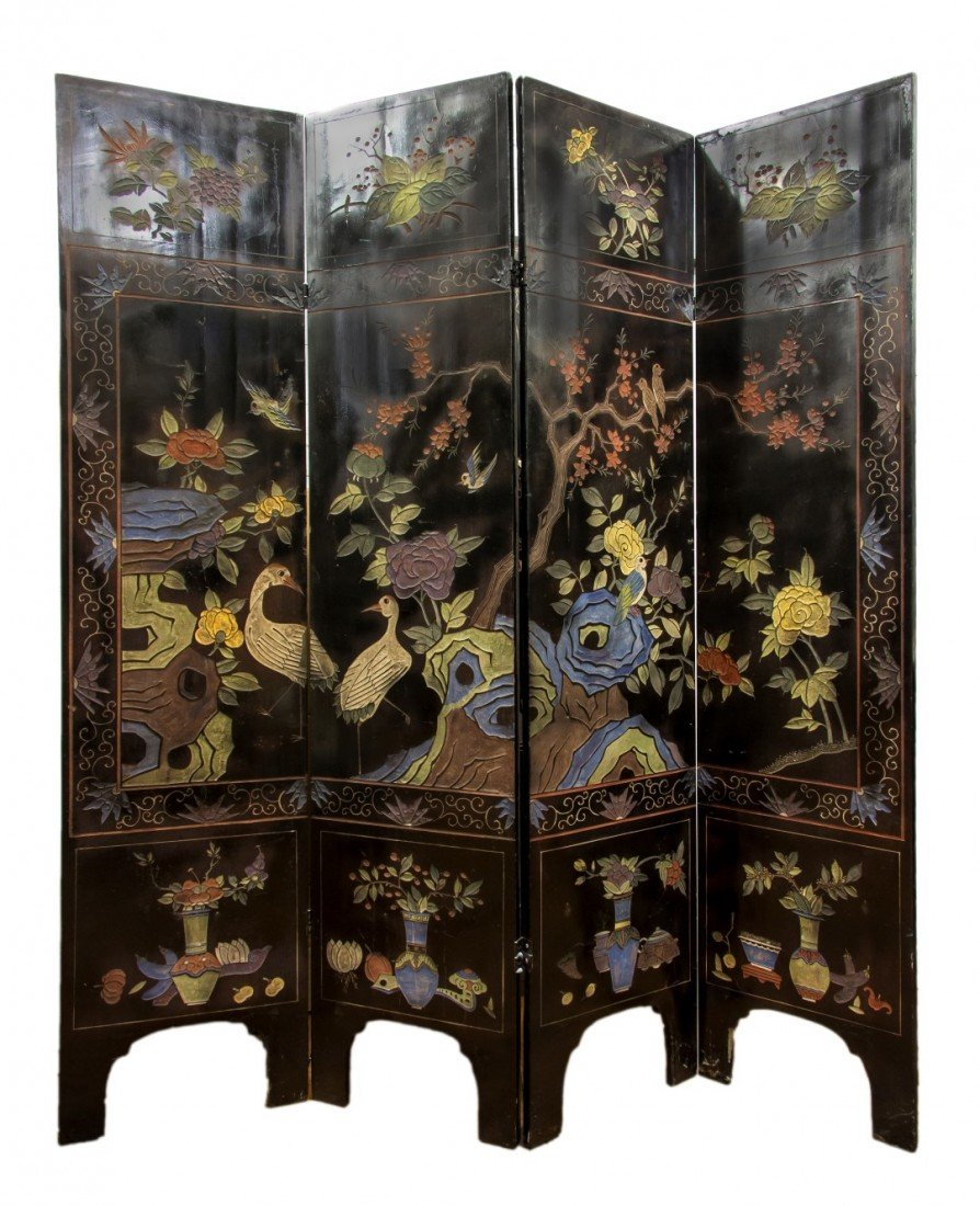 130: A Chinese Four Panel Coromandel Screen, Height eac