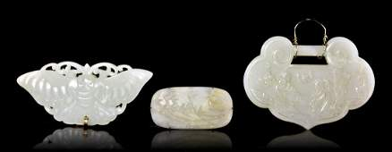 272: A Group of Three White Jade Articles, Width of wid