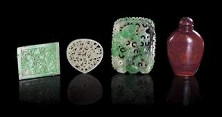 427 A Group of Three Carved Jade Plaques Height of ta