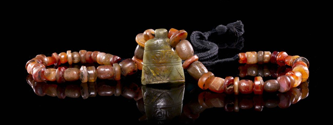 445: A Jade Bell-Form Toggle, Height of jade 2 inches.