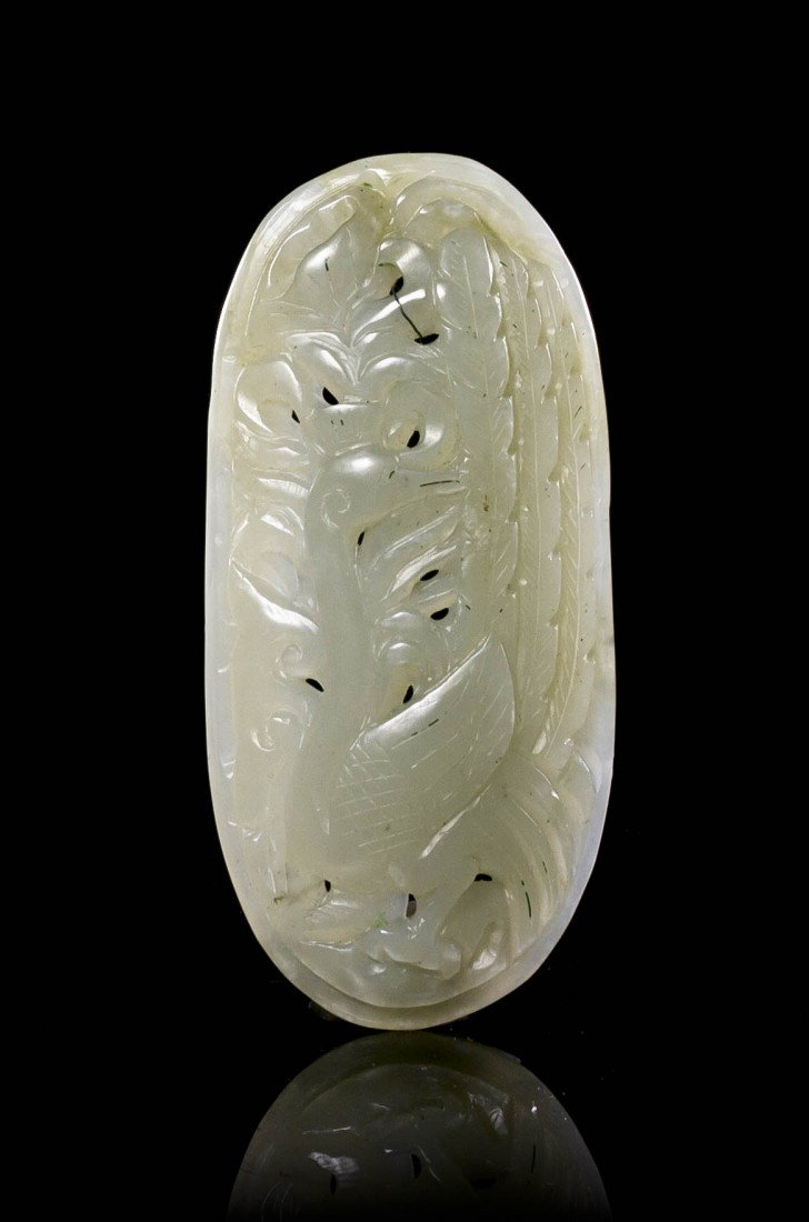 448: A Pierce Carved Jade Plaque, Height 3 1/2 inches.
