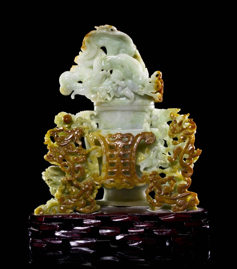 455: A Green and Russet Jadeite Lidded Vessel, Height 8