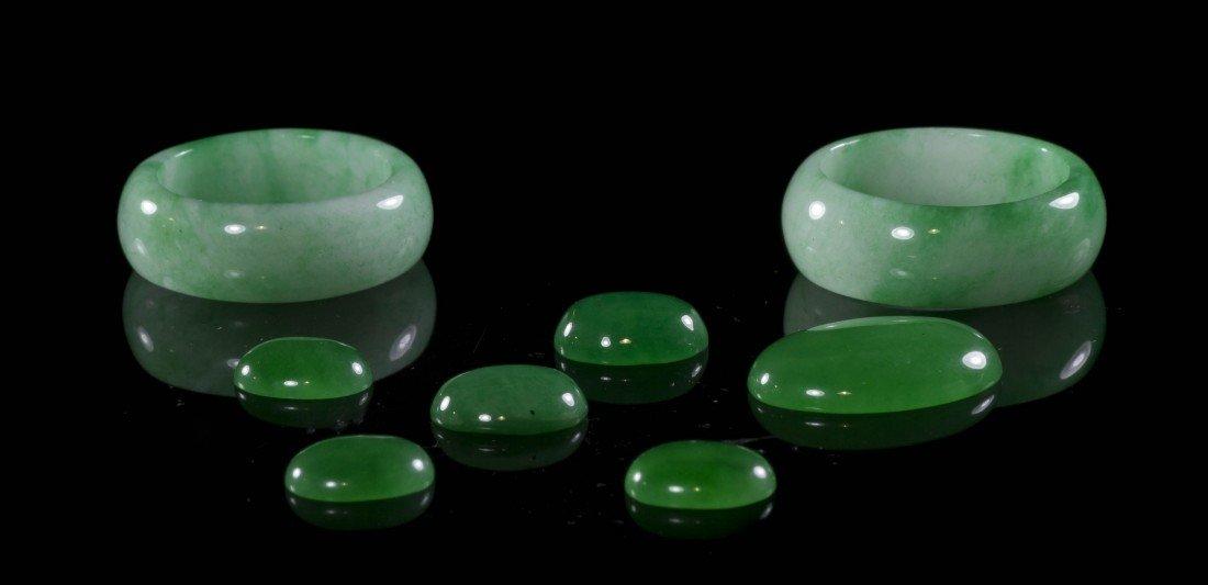 463: A Pair of Jadeite Rings, Diameter of ring 1 inch.
