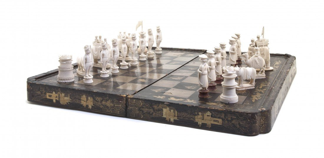 578: A Partial Anglo-Indian Ivory Chess Set, Height of