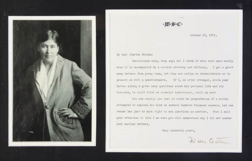 1: CATHER, WILLA. Typed letter signed, one page, Octobe