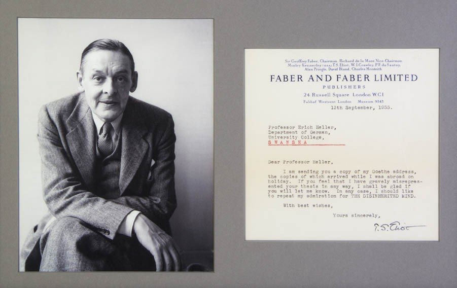 4: ELIOT, T. S. Typed letter signed, one page, to Erich
