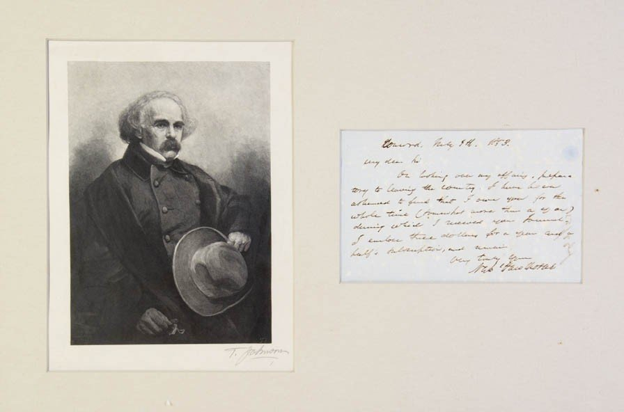 7: HAWTHORNE, NATHANIEL. Autograph letter signed, one p
