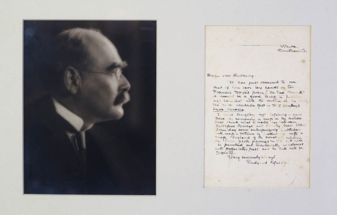8: KIPLING, RUDYARD. Autograph letter signed, one page,