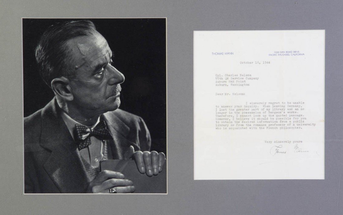 9: MANN, THOMAS. Typed letter signed, one page, Oct. 16