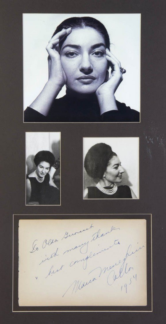 10: CALLAS, MARIA. Autograph note signed, 1954, to Alda