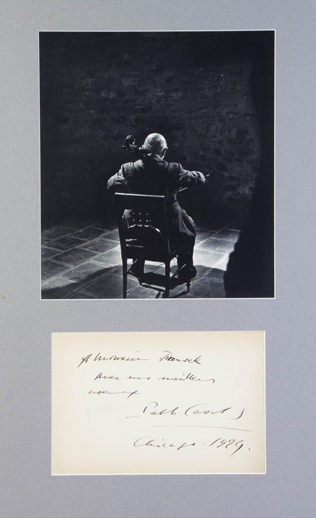 11: CASALS, PABLO. Autograph note signed, Chicago, 1940