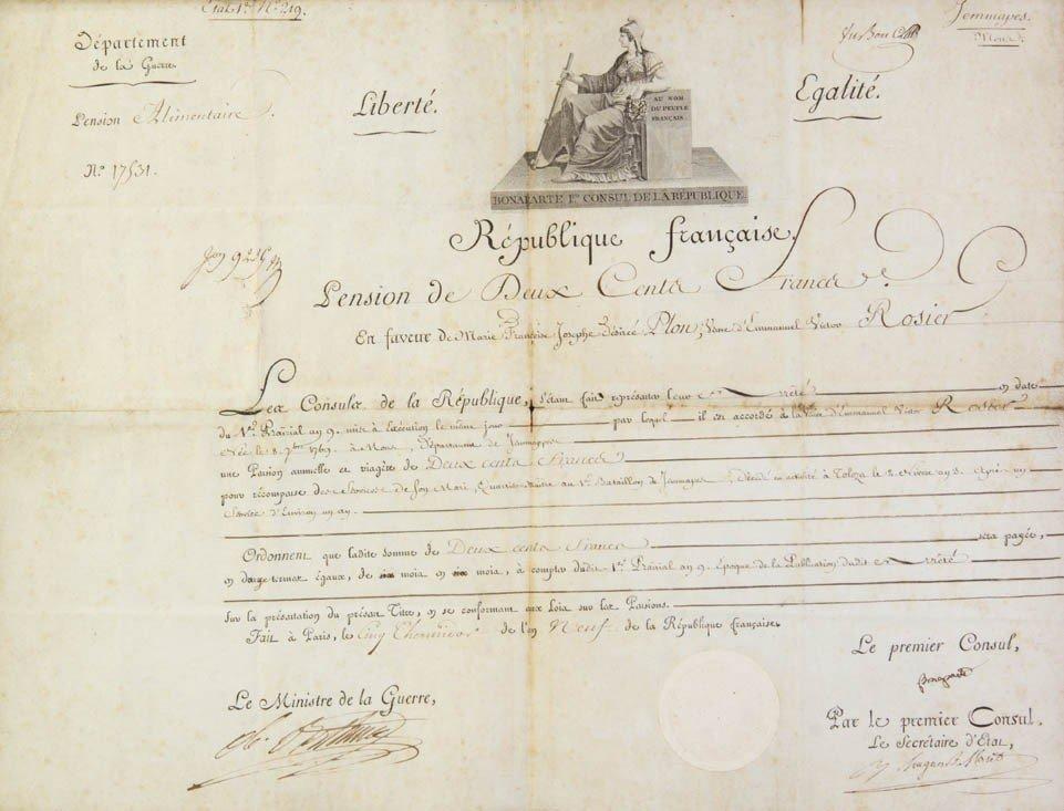 15: BONAPARTE, NAPOLEON. Partially printed document sig